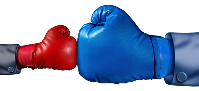 Photo of small and large boxing gloves tapping from Hapman blog post