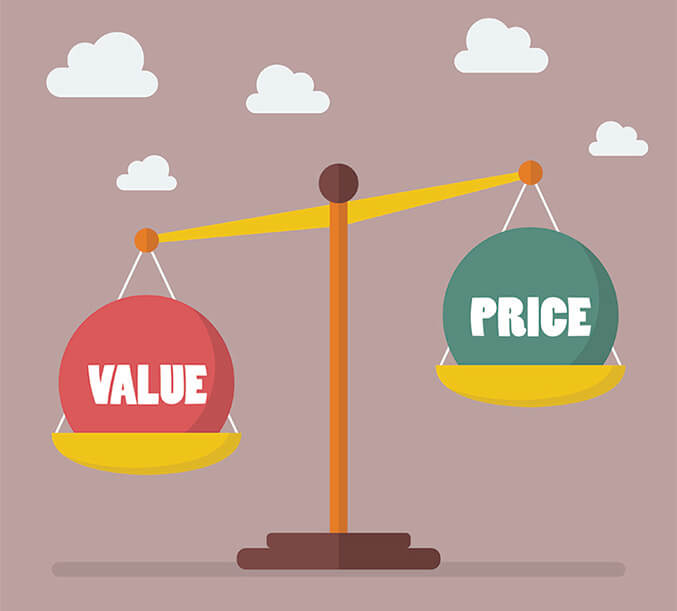 Illustration of value outweighing price on a scale for Hapman blog post