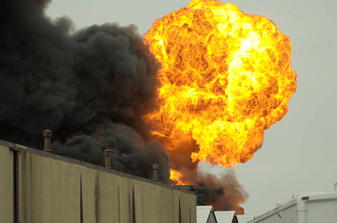 Photo of an explosion at a bulk handling facility from a Hapman blog post