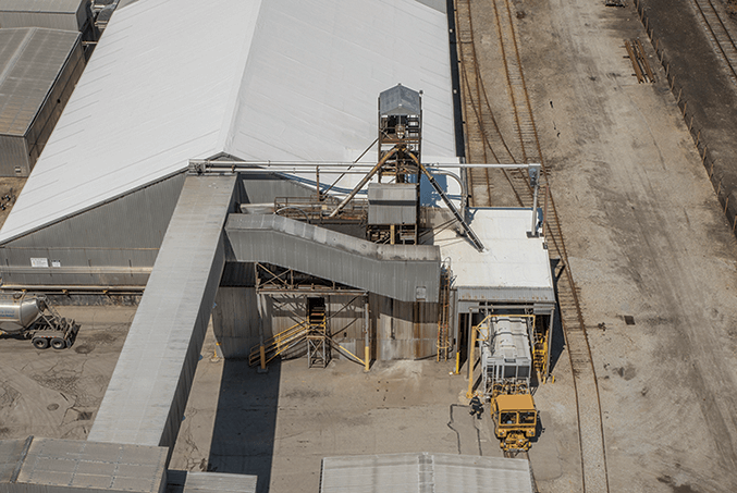 Arial photo of the outside of a factory using a Hapman tubular drag conveyor