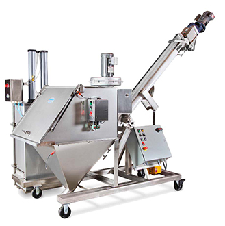 Hi-Lo Helix Flexible Screw Conveyor with Dust Collection and Bag Compactor | Hapman.com