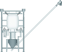 Bulk Bag/FIBC Unloader with Integral Hopper and Helix Flexible Screw Conveyor Illustration | Hapman.com