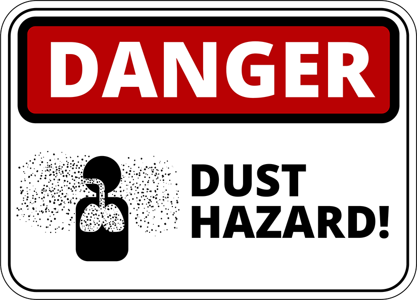 Sign with person icon reading: Danger, dust hazard!