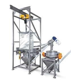 Bulk Bag Unloader With Dual Helix Flexible Conveyor Sanitary Components