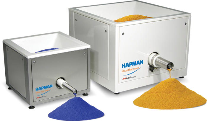 Larger angled front view of large and small PosiPortion™ feeders from Hapman