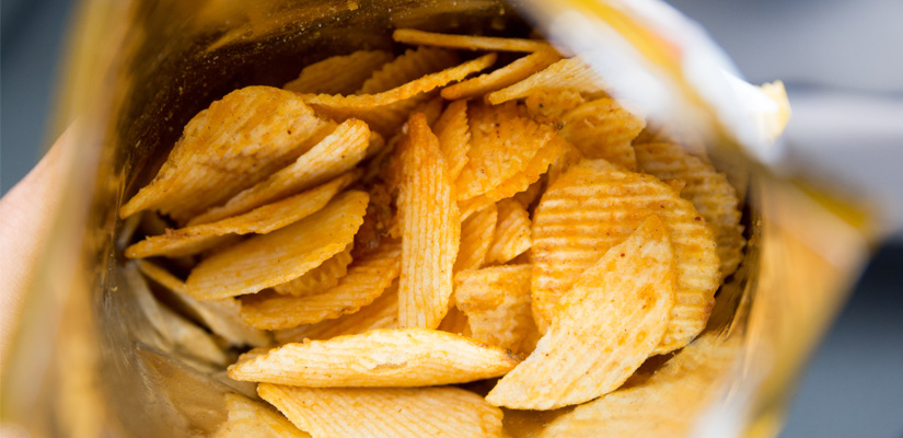 Top view of an open back of potato chips from Hapman Application Review