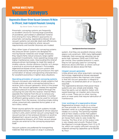 Image of cover of Vacuum Conveyors white paper by Hapman