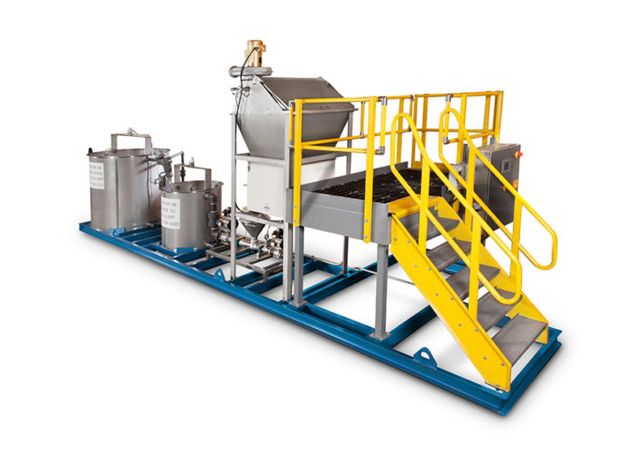 Custom skid-mounted pre-mixing solid/liquid system by Hapman | Hapman.com