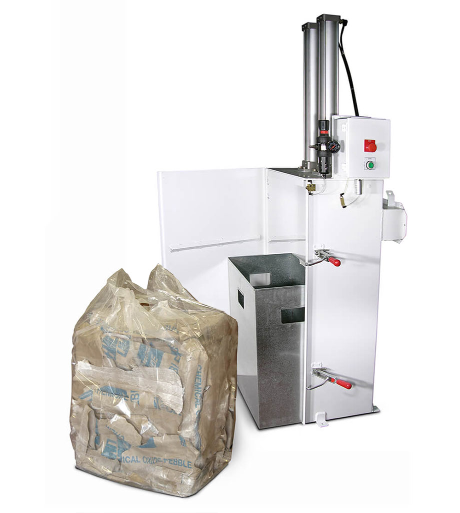 Image of a bag compactor from Hapman showing door open, removable container and compacted bag